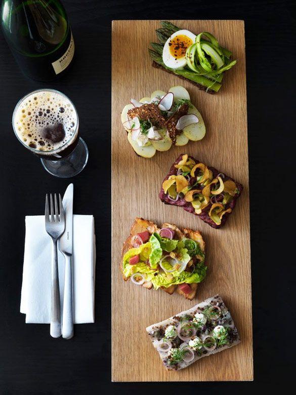 Smørrebrød at Aamanns-Copenhagen in New York -- the beef tartar and chicken salad Smørrebrød are their most popular so far
