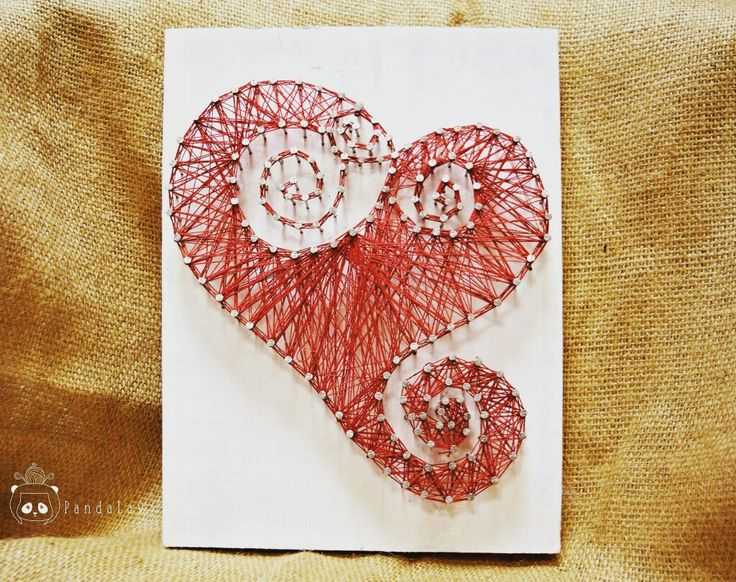 String art on wood with heart shaped in PandaLav Design's style
