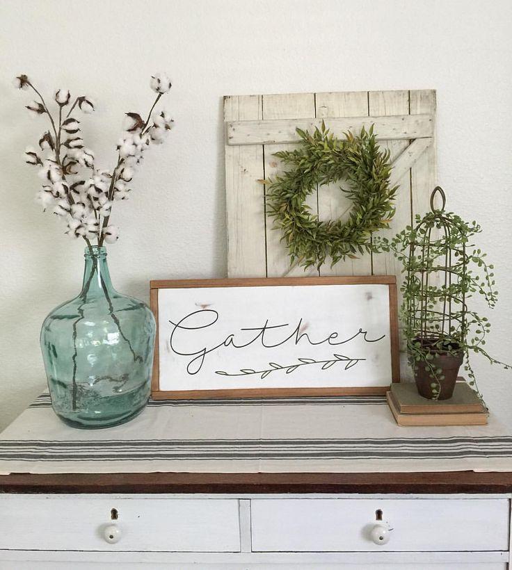 Gather sign. Farmhouse style decor. cotton stems