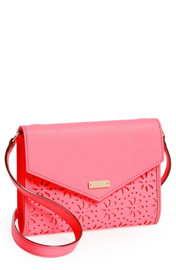 Love this pretty pink 'Cedar Street Perforated Monday' leather crossbody bag | Kate Spade