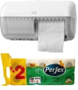 PROMOTII : Dispenser hartie igienica Tork + Pachet hartie igienica CADOU: 557000