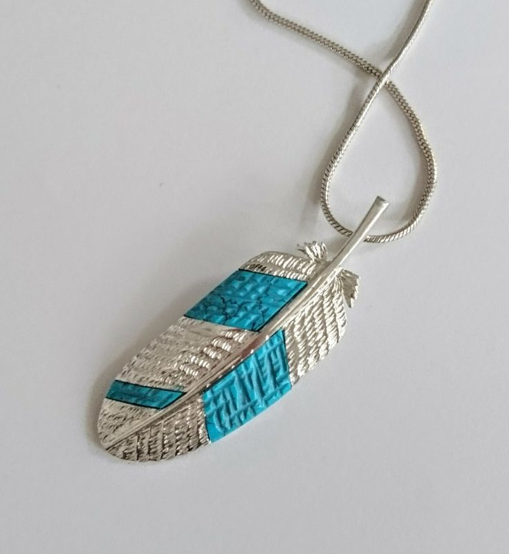 Pendant feather, silver 925 with turquoise