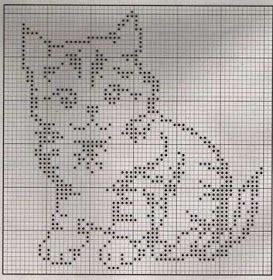 Cute kitty pattern for filet crochet or maybe double knitting.