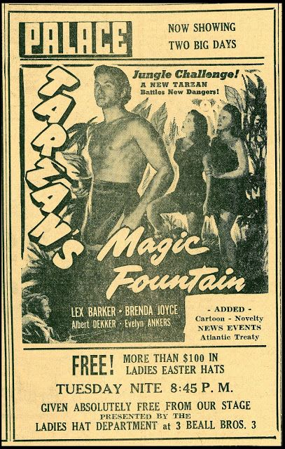 TARZAN'S MAGIC FOUNTAIN (1951) - Lex Barker - Brenda Joyce - Albert Dekker - Evelyn Ankers - Directed by - RKO-Radio - Newspaper Ad.