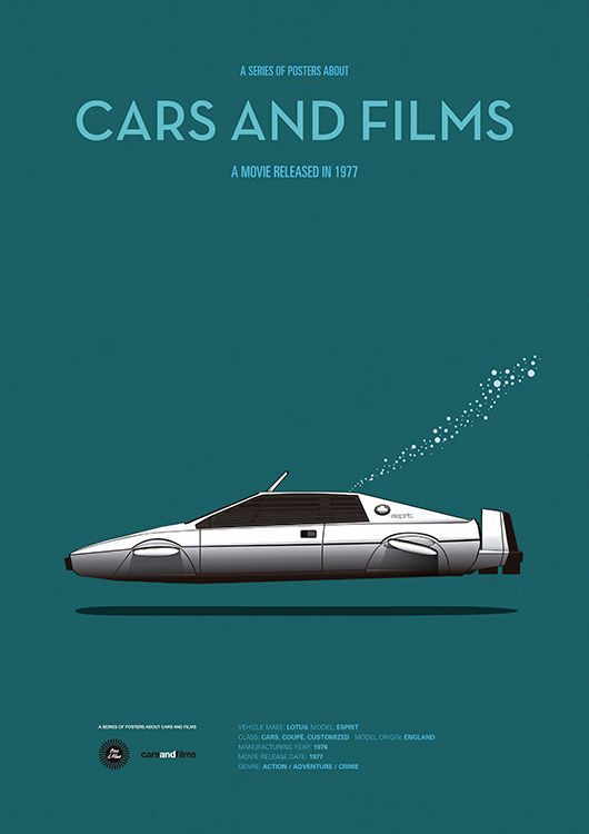 Poster of the car of The Spy Who Loved Me. Illustration by Jesús Prudencio. Cars And Films