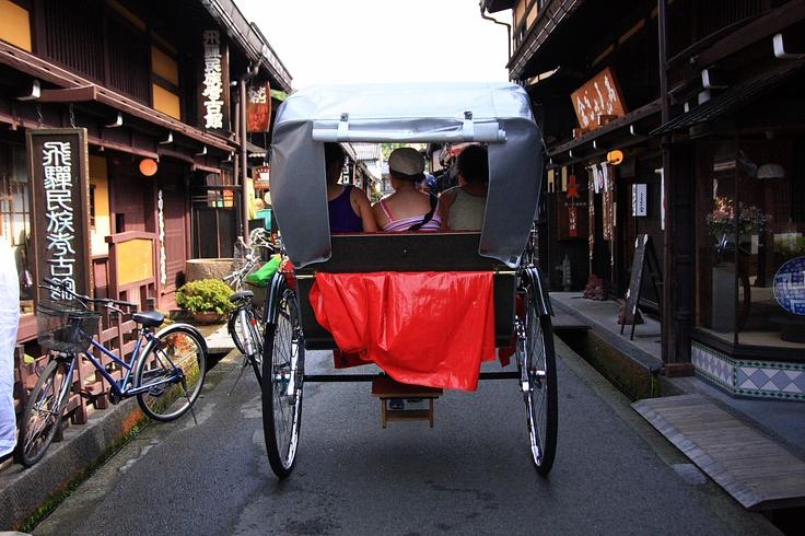 rickshaw, Jinrikisha, Pulled rickshaw at Takayama Japan.