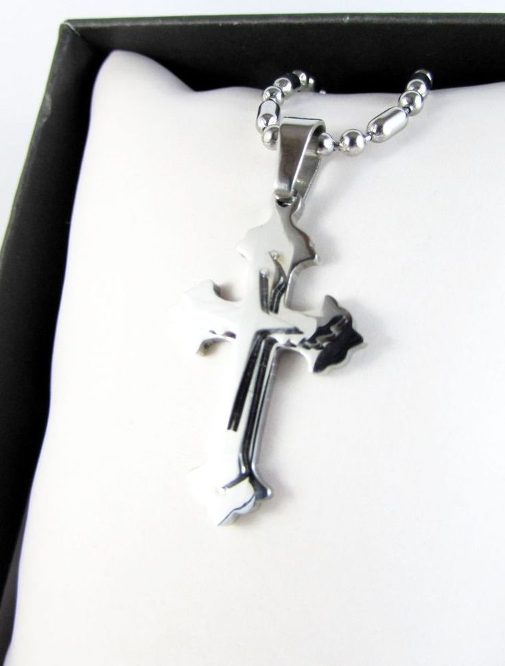 Silver Cross Solid Stainless Steel Pendant Chain Necklace