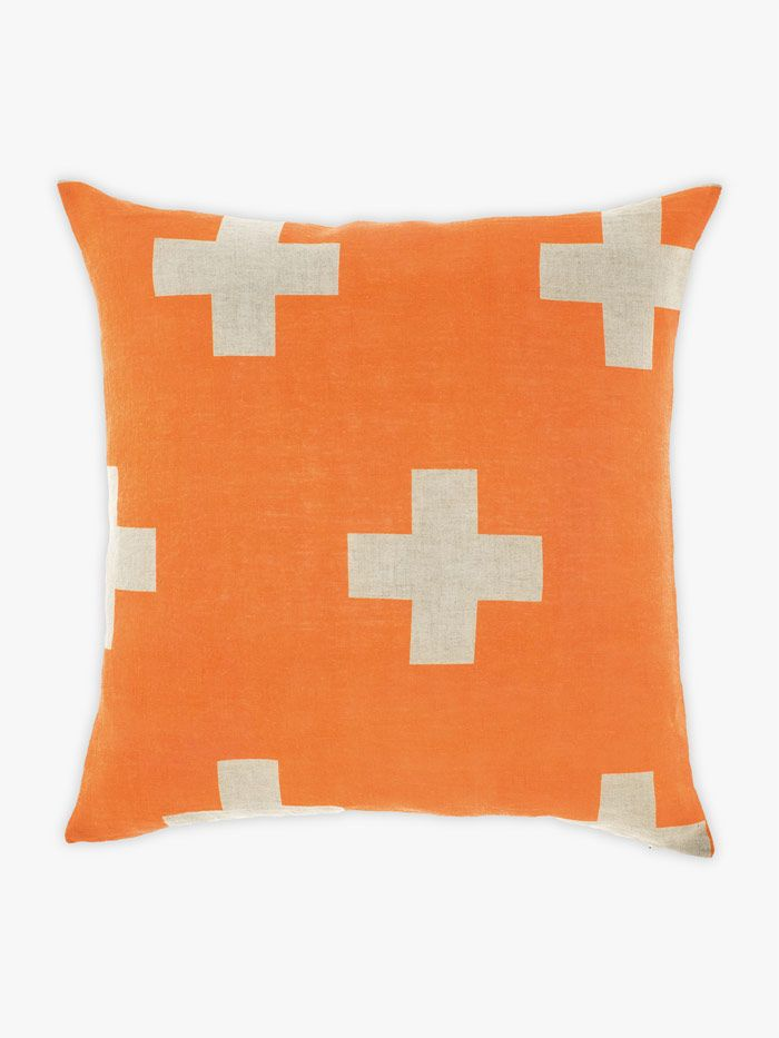 AURA Crosses Cushion in Orange Poppy, available at Forty Winks