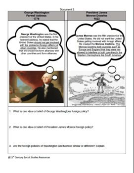 George Washington and James Monroe Exciting Foreign Policy CCLS Comparison
