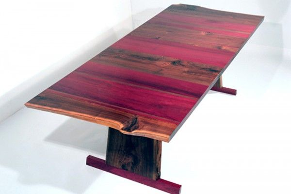 Solid Walnut and Purple Heart Wood Dining Table Design of Bandwidth Series by Eric Manigian - NEW YORK BY DESIGN | Design Gallery