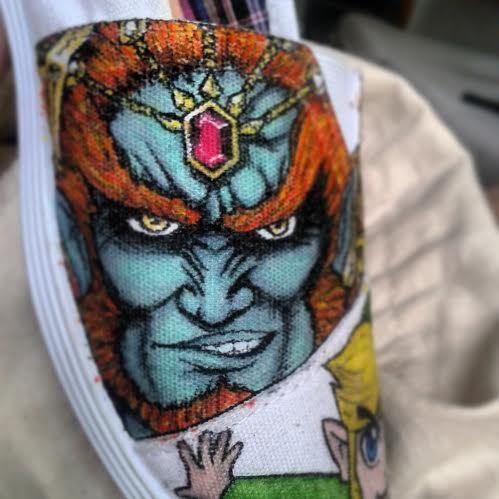 Ganondorf on the front of a pair of shoes, by Fauve Boudreau Creations See more on www.facebook.com/fauveBCreations  #shoeart #art #artist #drawing #portrait #colors #fauvesshoes #fauve #ganondorf #zelda #link #videogame #gamer #handmade