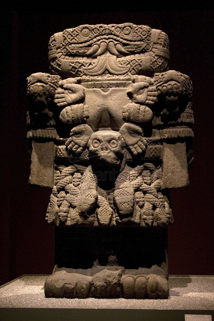 Ancient statue of Coatlicue, the Aztec goddess who gave birth to the moon, and stars, and is the god of sun and war. It is currently located in the National Museum of Anthropology in Mexico City.