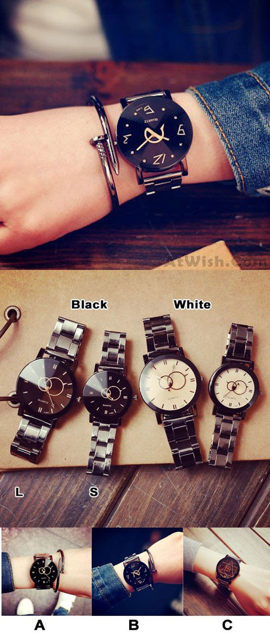 Harajuku Simple Steel Strip Couple Watch Student Quartz watches for big sale! #watch #harajuku #couple #cute