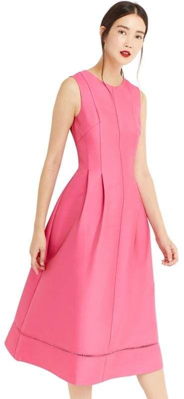 OASIS Oasis - Bright Pink Satin Twill Midi Dress  de512bfdb