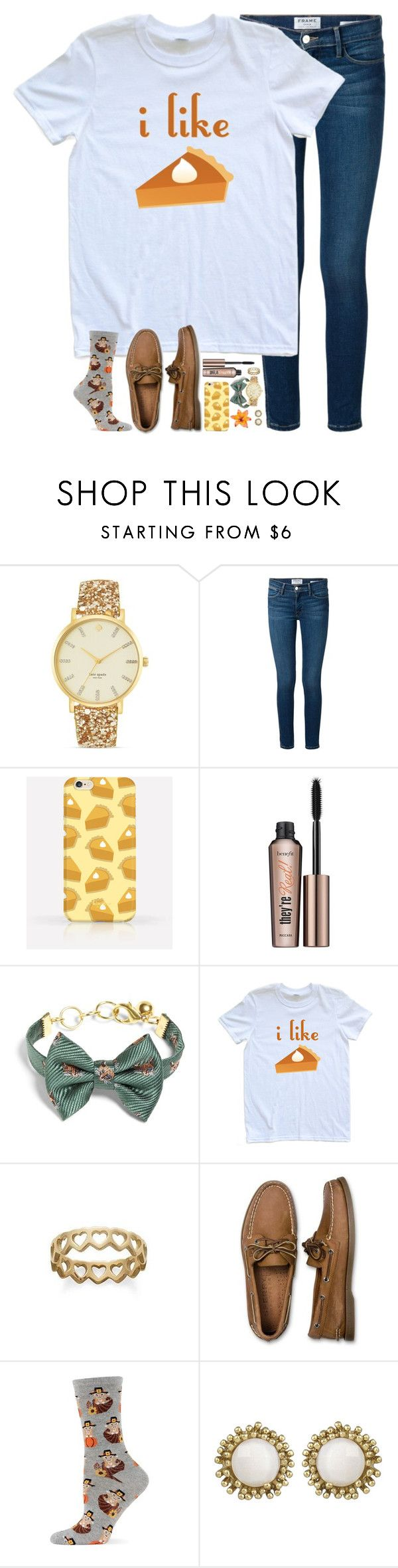 """""""i like *FREAKING OUT BC THERE IS NO PIE EMOJI WHY APPLE WHY*"""" by kthayer01 ❤ liked on Polyvore featuring Kate Spade, Frame Denim, Benefit, Brooks Brothers, Avery, Sperry Top-Sider, HOT SOX and Kendra Scott"""