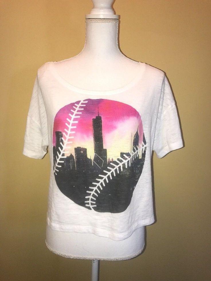 Victoria's Secret Pink Chicago Baseball Crop Top Cubs White Sox Medium Skyline  | eBay