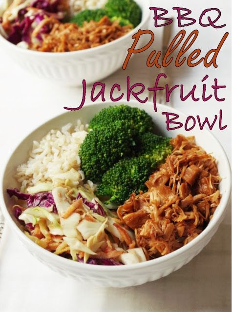 BBQ Pulled Jackfruit Bowl w/ Asian Peanut SlawYou'll needChopping boardKnifeLarge mixing bowlLarge frying pansieve/fine colander2 Saucepans2 forks, for shreddingGraterJar/ container with spill-proof lid