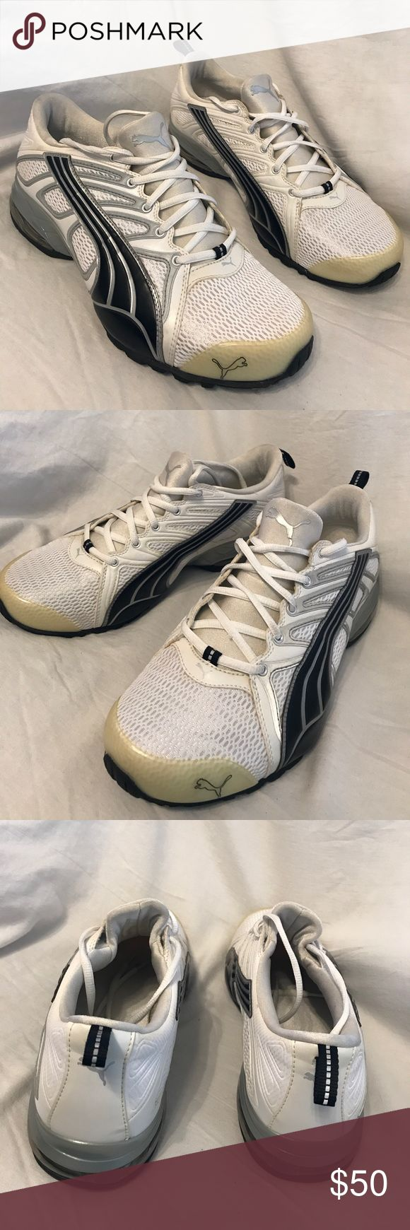 Like new Puma tennis shoes These babies look awesome, feel great , and are made for performance. So new , you can still see the texture on the nubs of the pattern on the  sole. No wear at all. Knit and leather upper Puma Shoes Athletic Shoes