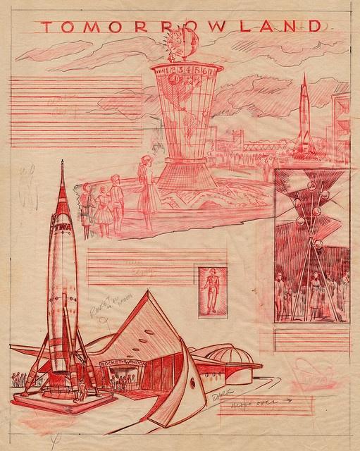 Disneyland Tomorrowland Illustrations 1955 by Miehana, via Flickr