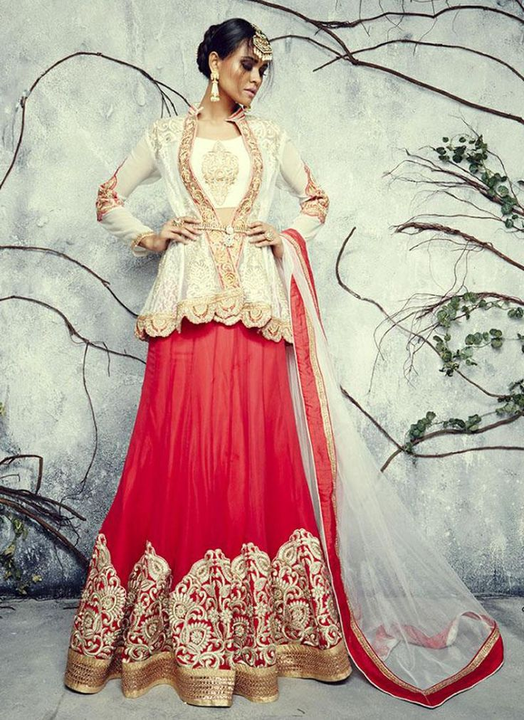 Amusing Bhagalpuri Silk Cream and Red A Line Lehenga Choli
