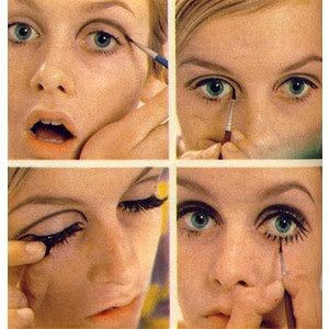 Twiggy shows us how to do Mod make-up pale eyes with a defining line, long black lashes and defined eye lash detail below the eyes. Keep the lips pretty & pale. Xx