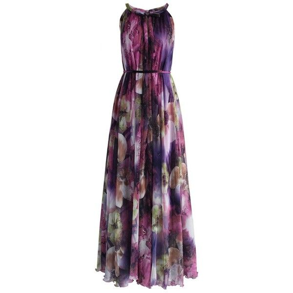 Chicwish Mysterious Purple Floral Maxi Slip Dress (170 BRL) ❤ liked on Polyvore featuring dresses, gowns, gown, vestidos, long dresses, purple, maxi dress, floral print dress, floral print gowns and floral gown