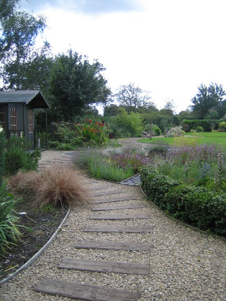 Concrete sleepers set into Cotswold stone gravel from part of an English Country Garden designed by Sue Davis of outside-rooms.co.uk