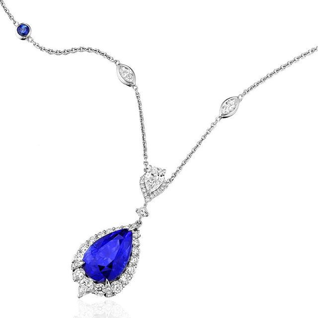 """Real Gems NY. The """"Victoire"""" Ceylon blue Sapphire necklace #sapphire #sapphires…"""