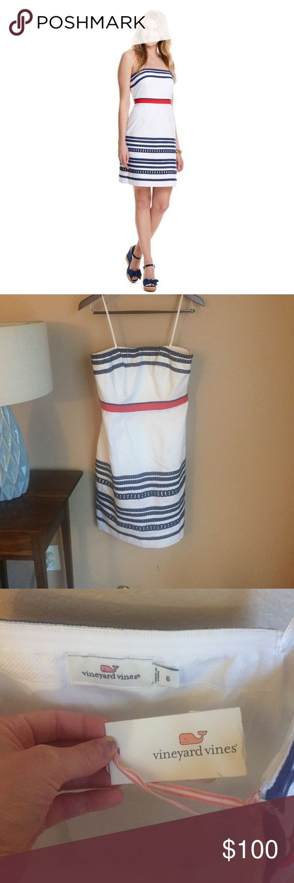"""NWT Vineyard Vines Strapless Dress. Size 6 NWT vineyard vines strapless dress (the straps in the picture are just the hanger straps). Fabrics: · 100% cotton   Features: · Strapless  · Navy lace applique stripes  · Layered contrast ribbons at waist  · Fully lined  · Invisible zipper at left side seam · Boning and tape on the interior bodice · Length: 30 1/2"""" (based off size 6)  · Imported Vineyard Vines Dresses"""