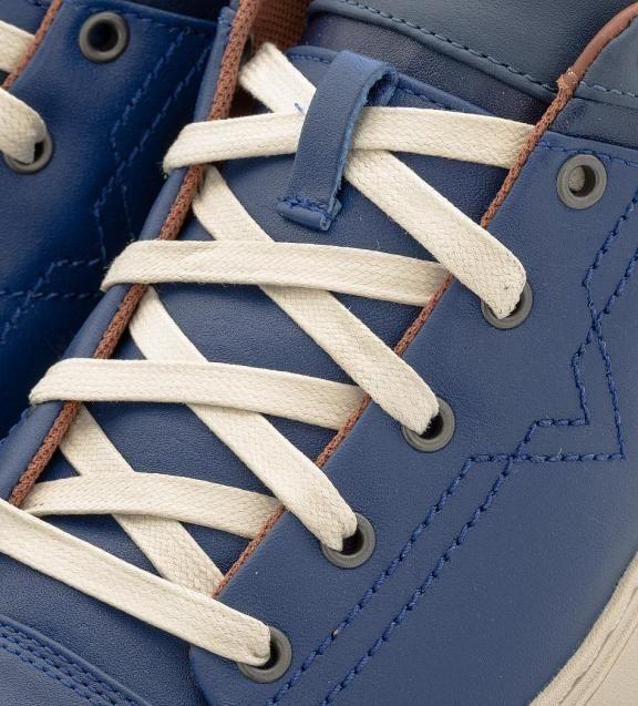 Синие кожаные кеды с вкладной стелькой Y01494 P1040 H6233 вкладная стелька, кеды завязываются на шнурки, купить в интернет-магазине. Цена: 12990