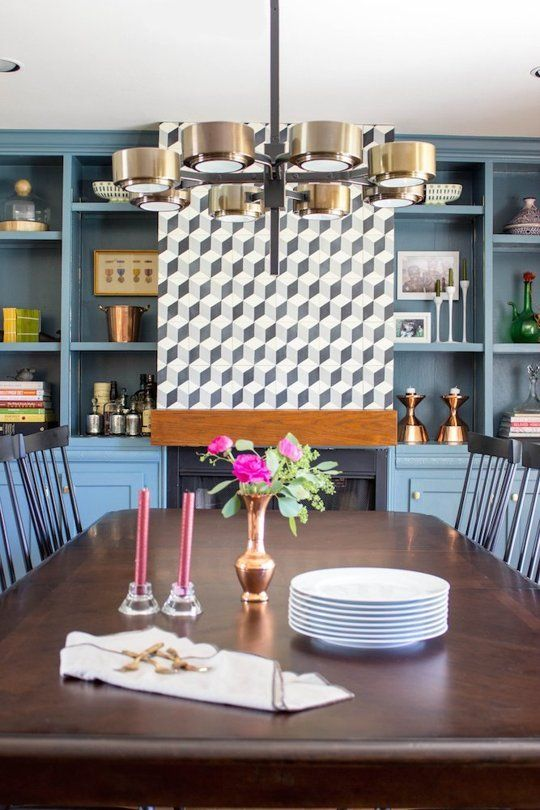 before after a dreary dining room goes geometric professional project - Apartment Dining Room