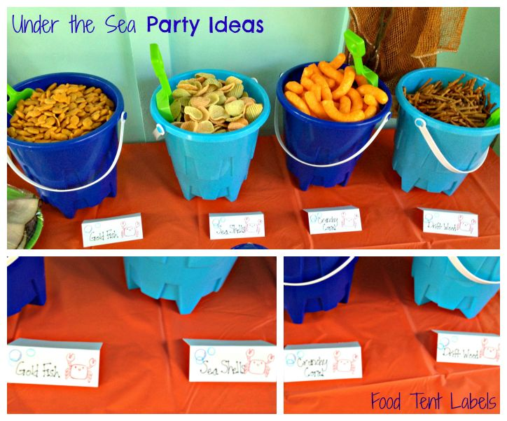 {First Birthday} Under the Sea: Food and Favors Birthday theme, party planning, party ideas, party DIYs and tutorials, food labels, snacks Put snacks in sand castle buckets: Drift wood, gold fish, sea shells, crunchy coral