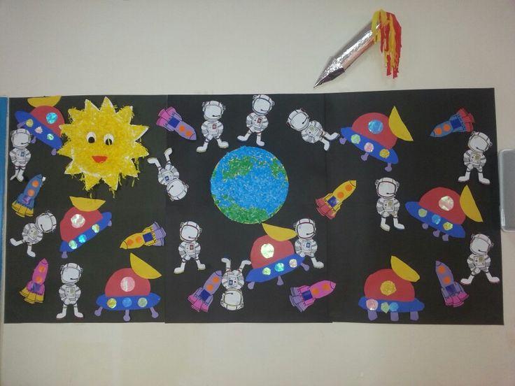 Space kids preschool craft collage okul öncesi proje çalışması uzay