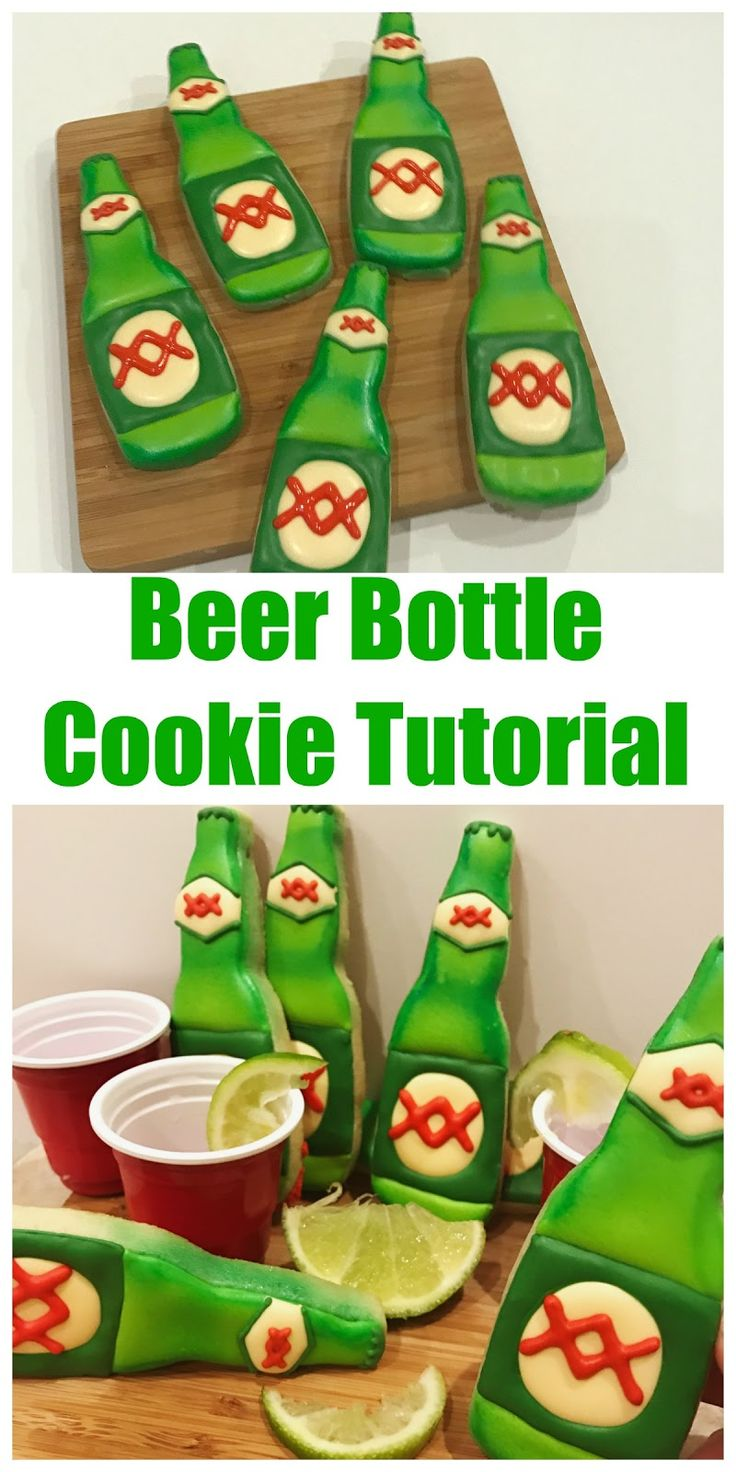 decorated beer dos equis bottle cookie tutorial for national beer day