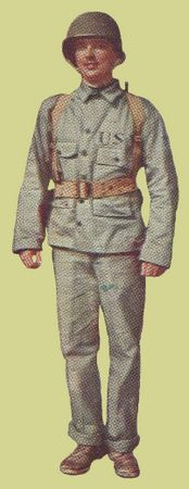 World War 2 -  Tropical Combat Uniform - A two-piece herringbone twill work and tropical combat uniform similar to army designs. The jacket shows USN stamped over the left pocket, which was the practice of the time for Navy HBT uniforms. The Navy jacket had the large front pockets set noticeably lower so not to make the wearer top heavy in water. The trousers were identical to Army first pattern HBT trousers. Later, the Navy wore the Marine Corps style HBT design, but in a darker shade of…