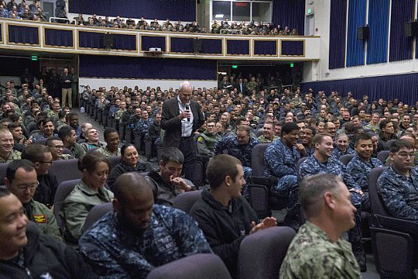 Secretary of the Navy (SECNAV) Richard V. Spencer delivers remarks during an all-hands call with Sailors at Naval Air Station Whidbey Island.