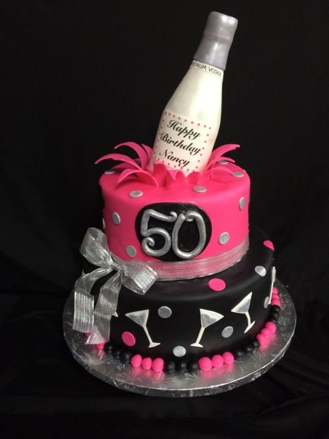 Martini 50th Birthday Cake, Silver, Hot Pink and Black, Fondant Vodka Bottle