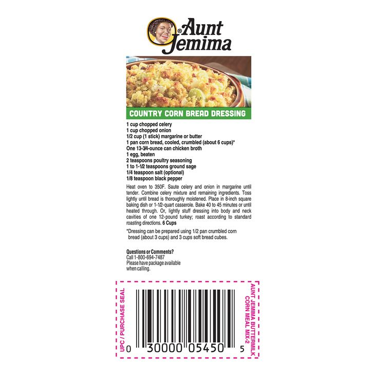 Aunt jemima cornbread dressing recipe on bag