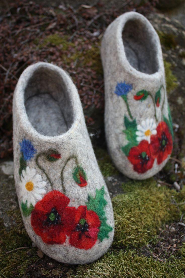 Felted Slippers Meadow flowers by IrinaU on Etsy