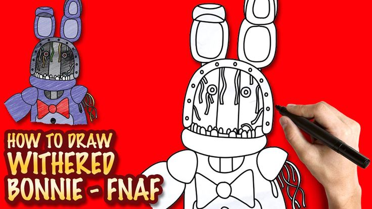 How to draw Withered Bonnie FNAF Easy stepbystep