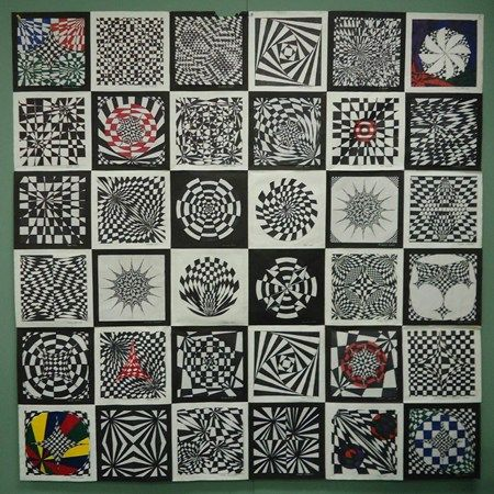 op art quilt by my 5th grade students (Donna Staten)
