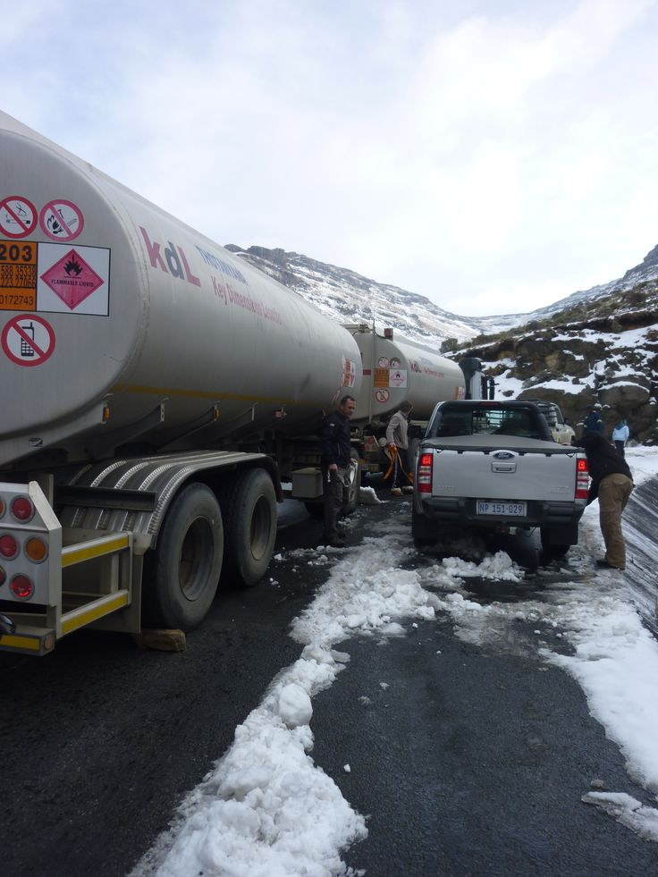 Trying not to slip off the road in Lesotho