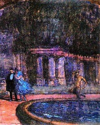 Escena nocturna en el Casino de Viña del Mar.  Pintura de Camilo Mori.