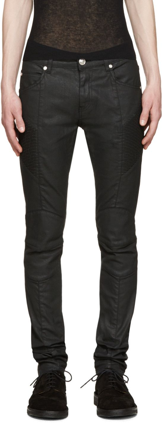 Pierre Balmain - Black Coated Skinny Biker Jeans