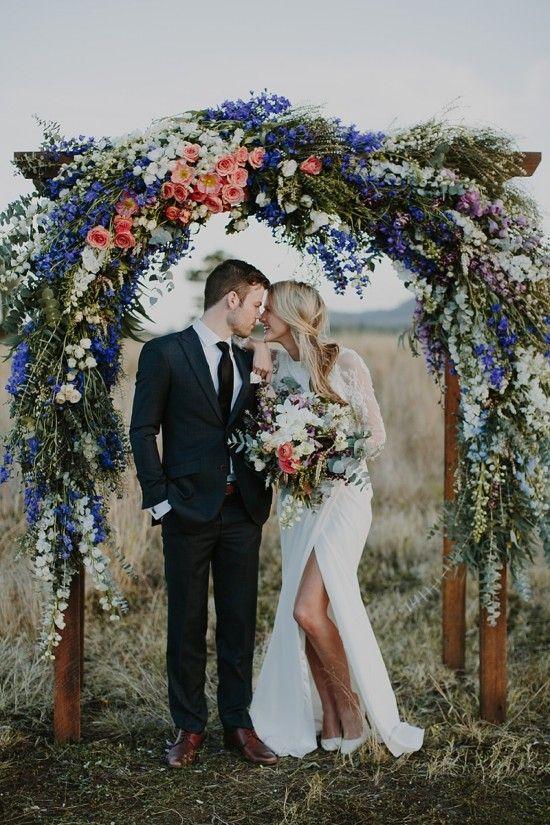 dramatic red, white + blue wedding ceremony backdrop