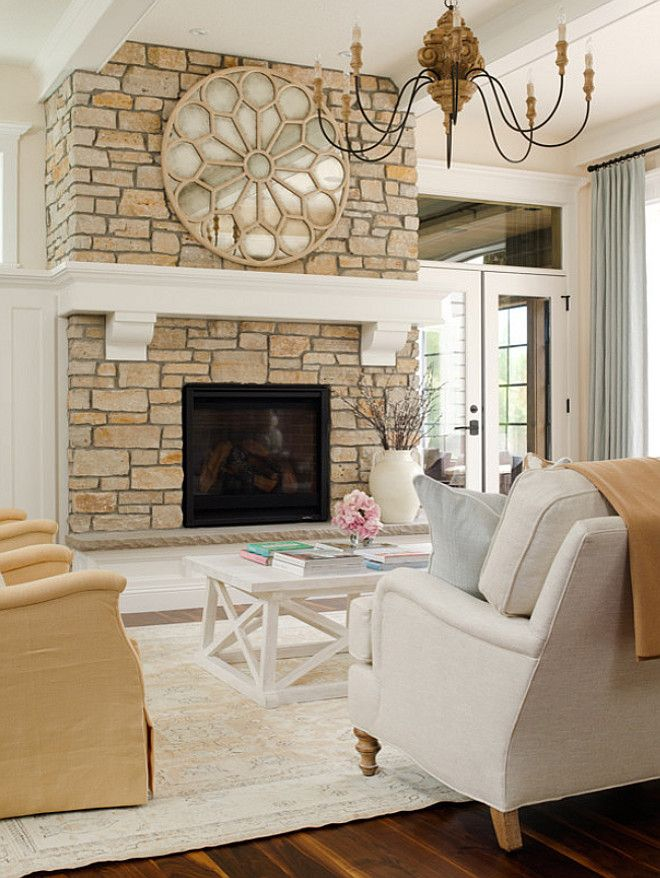 Stone fireplace with white mantel