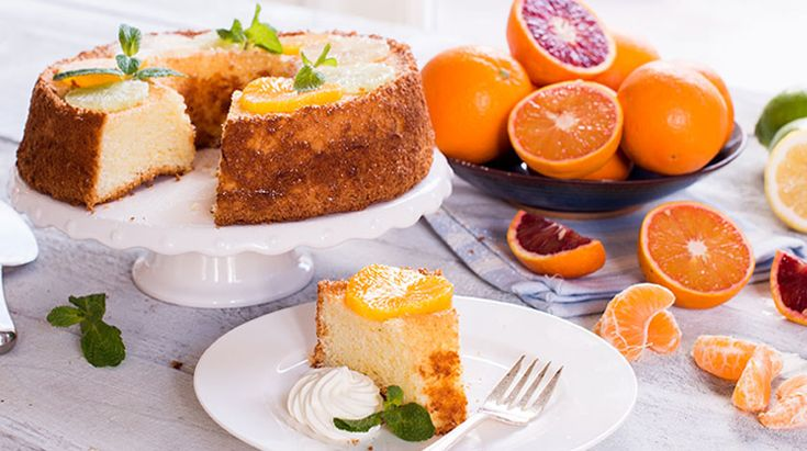 Citrus Chiffon Cake | This light in texture, flour-less cake is delightfully flavoured with the tastes of orange, lemon & lime.