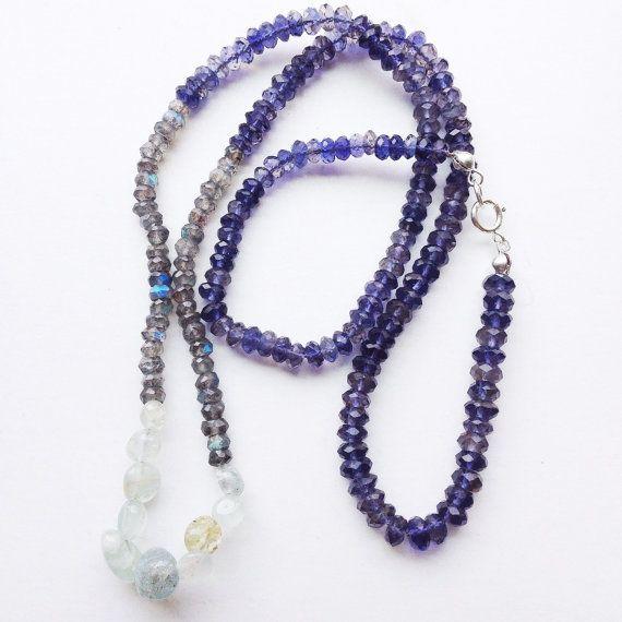 Sparkly Semi Precious Gemstone Handmade Beaded Necklace Iolite/ Labradorite/ Aquamarine by mariaidadesigns
