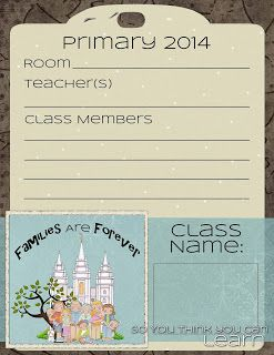Families Are Forever - Primary 2014 - door signs