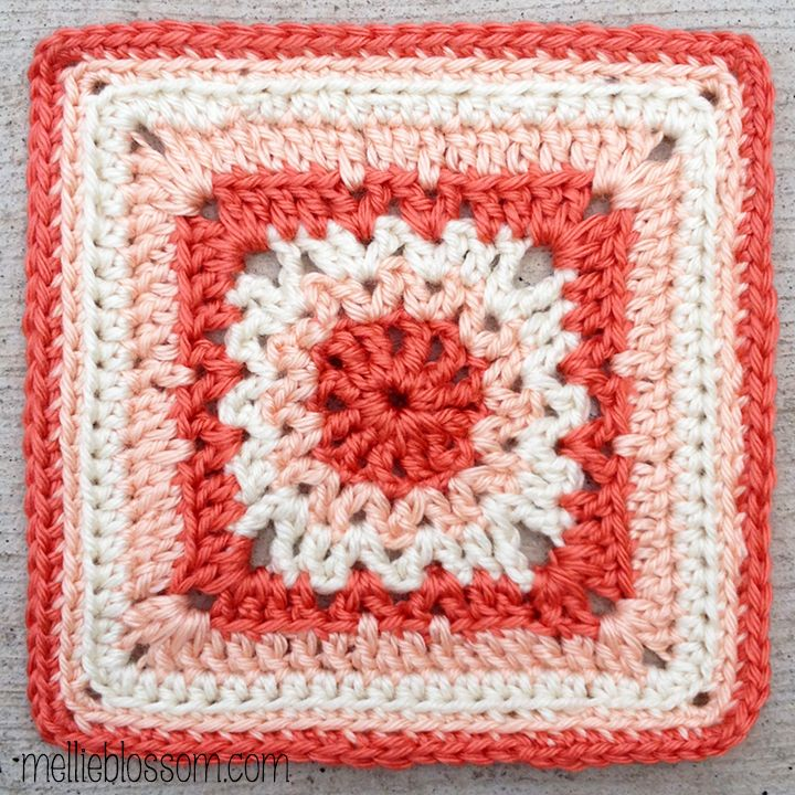 "January Crochet Along Squares - mellie blossom 6"" square ~ free pattern"